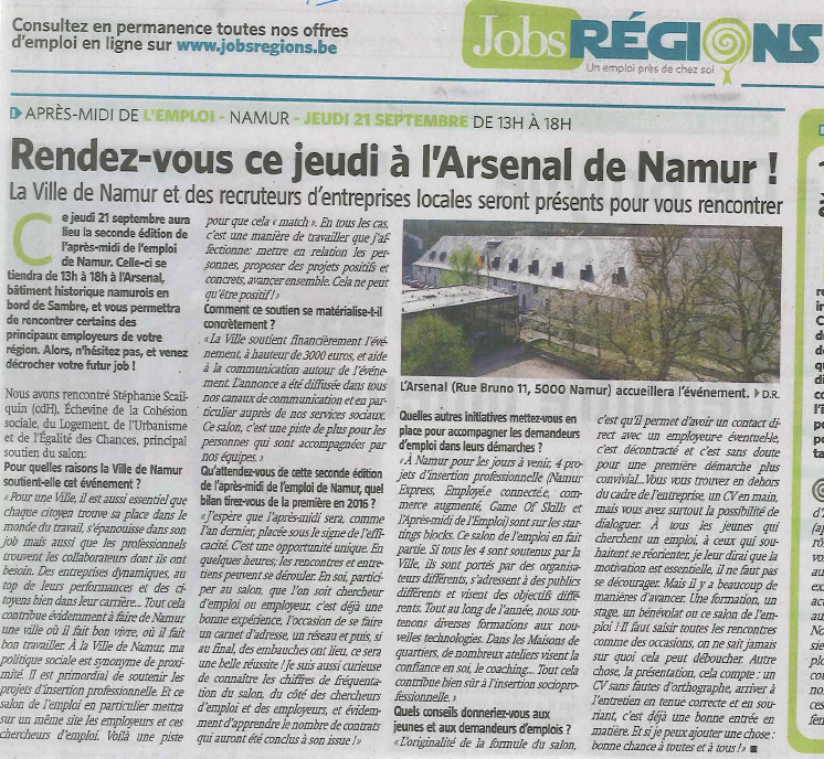 Namur : salon Jobs Regions